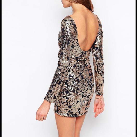 Floral Sequin Bodycon Dress (フローラルスパンコールボディコンワンピ)