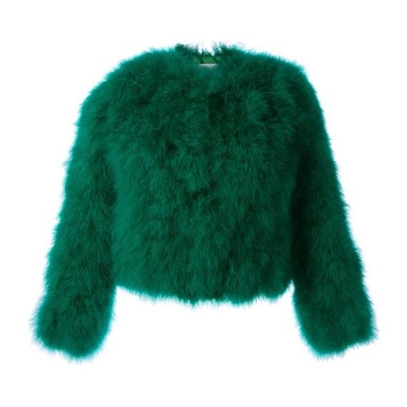 【代引き不可!!】Mohair Fur Jacket In Emerald Green (モヘア ファージャケット)