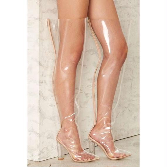 """【Back In Stock!! 再入荷】Clear Over-the-Knee High Boot """"KIM"""" (クリアビニールサイハイブーツ """"キム"""" )"""