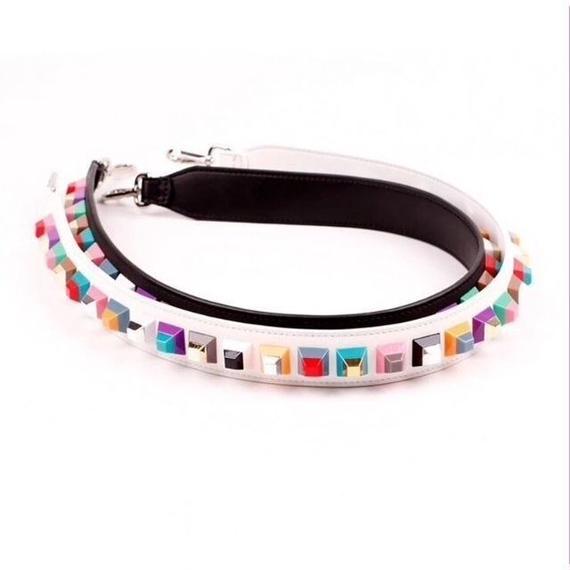 【2色】Color Leather Strap With Multi Color Stads (カラースタッズ  レザーストラップ)