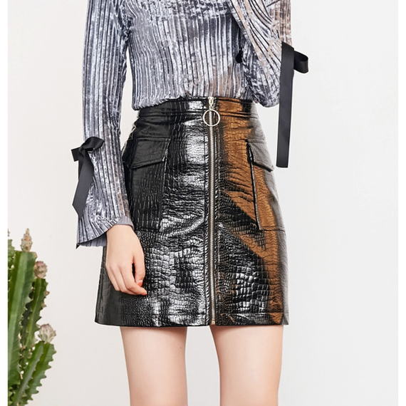 A-Line PU Croc Embossed Mini Skirt (Aライン クロコ型押しミニ)