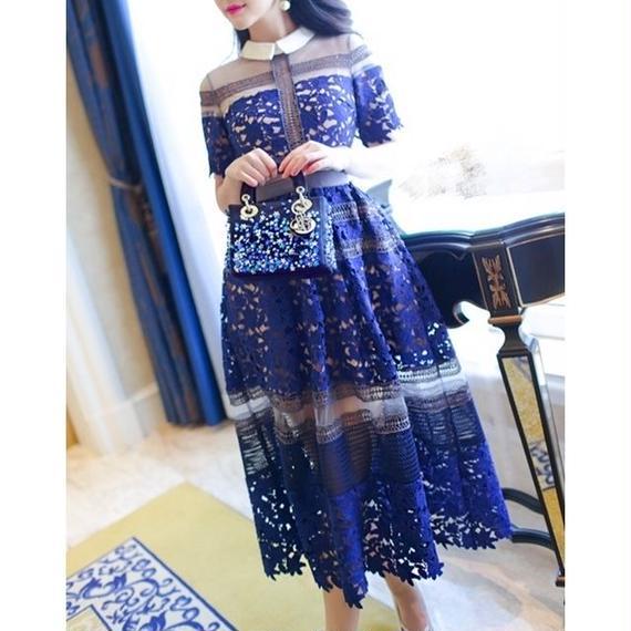 Flower Lace Blouse Midi Dress In Blue (ミモレ丈 ブルーフラワーレースブラウスワンピ)