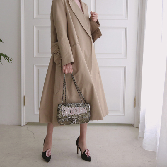 【2Colors!! 2色】Pointed Frill A Line Trench Coat (フリルデザイン トレンチコート)