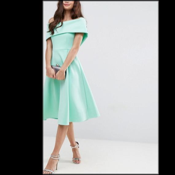 Off The Shoulder MIdi Dress In Mint (オフショルダープリンセスワンピ)