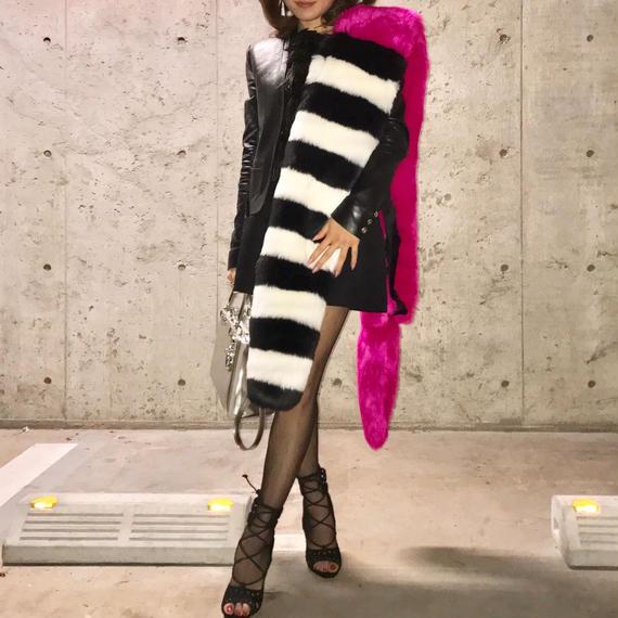 【4色】Single Face Long Faux Fur Stole (高品質マルチカラーボーダーフェイクファーストール/ 片面ファー