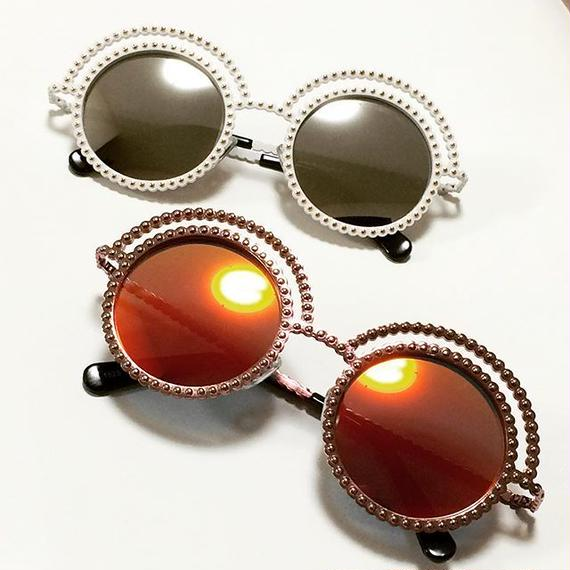 【Back In Stock!!再入荷】2色 Coco Pearl Studs Round Sunglasses (ココ パールスタッズ 丸サングラス)