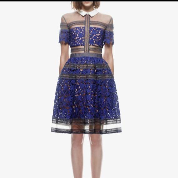 Flower Lace Blouse Mini Dress In Blue (ミニ丈 ブルーフラワーレースブラウスワンピ)