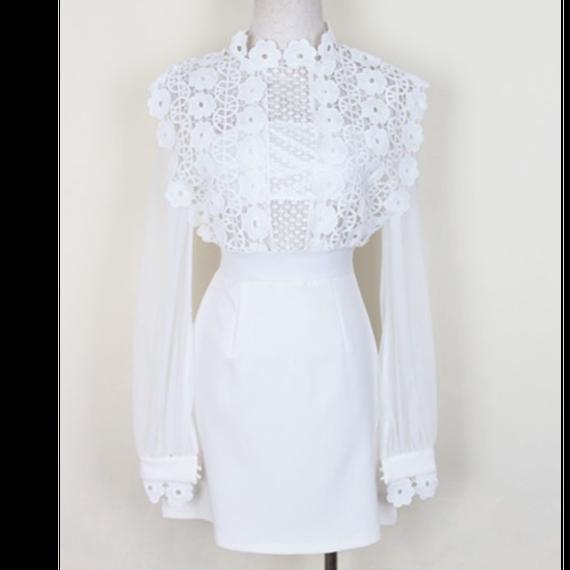 【2色】Flower Lace Blouse Dress In White  (ホワイトフラワーレースブラウスワンピ)