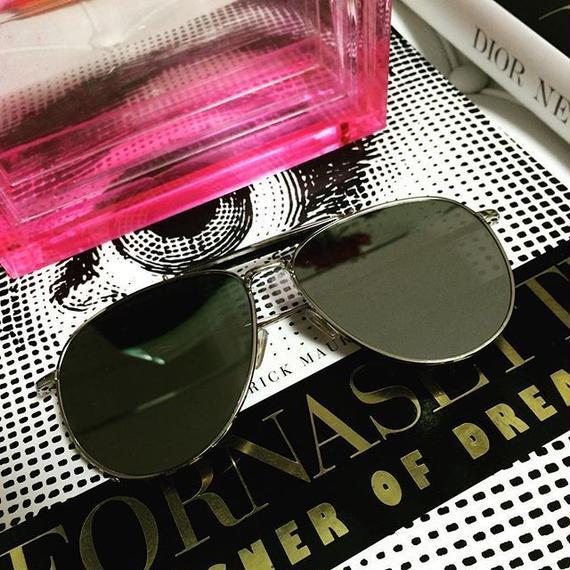 【 全2色】 Mirrored Silver Big Aviator Sunglasses (ミラードビッグフレーム アヴィエーター)