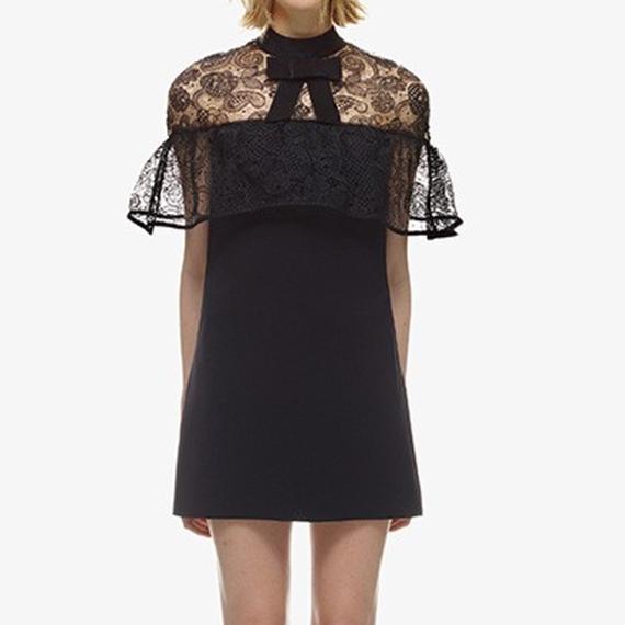 Black Raffle Race Dress (ブラックシアーレースワンピース)