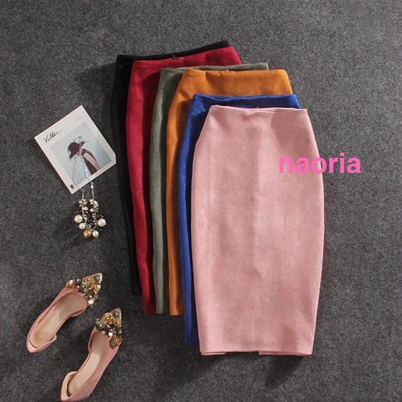 予約制   7色展開スウェードタイトスカート