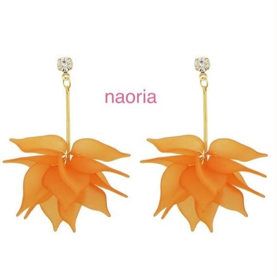 即納 フラワーロングピアス ピンク/オレンジ