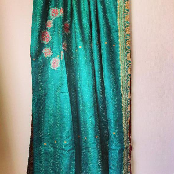 vintage silk kantha shawl 刺繍付