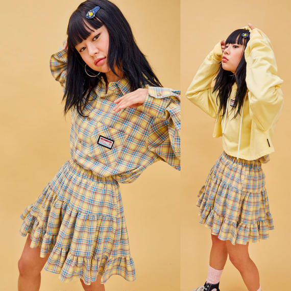 19S Cancan Skirt_Check (Yellow)
