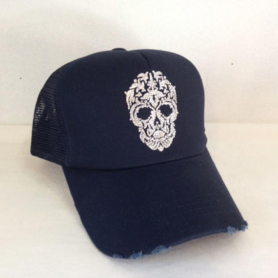 NIAC original skull ダメージメッシュCAP darknavy×CR