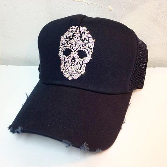 NIAC original skull ダメージメッシュCAP darknavy×AB