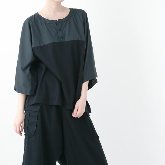 【19S/S 受注予約商品】Henley neck T-shirt (BEIGE , BLACK)