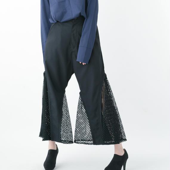 【19S/S 受注予約商品】Flare Mesh Pants (BLACK)