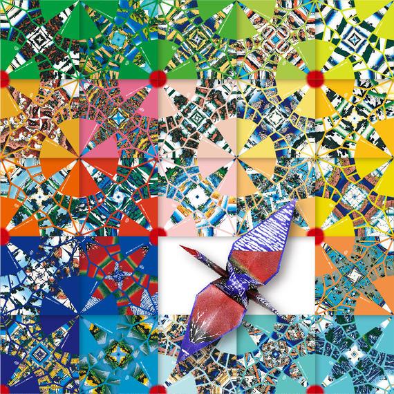 鶴を折ると富嶽三十六景があらわれる折り紙 錦折鶴 -錦折万華鏡- Vol.02