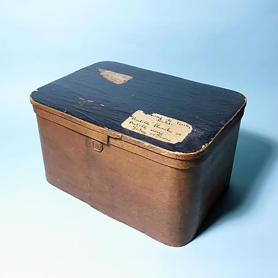 茶箱 アンティーク帽子箱見立