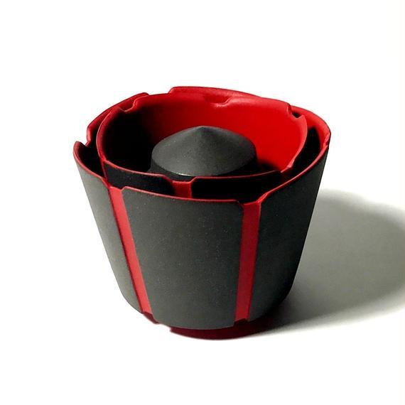 黒陶線条碗・茶入 赤 野点組物