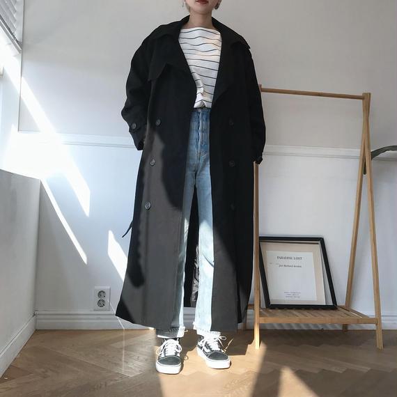マキシトレンチコート/ブラック