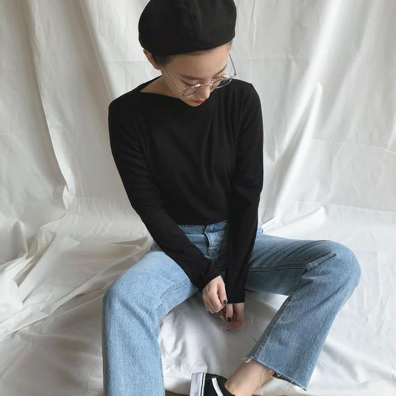 *予約販売*ボートネックTシャツ/ブラック