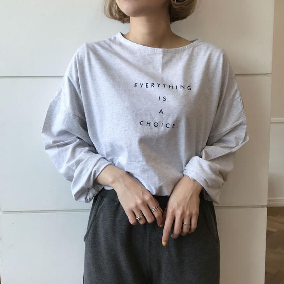 クルーネックレタリングTシャツ/メランジグレー