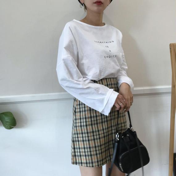 クルーネックレタリングTシャツ/ホワイト