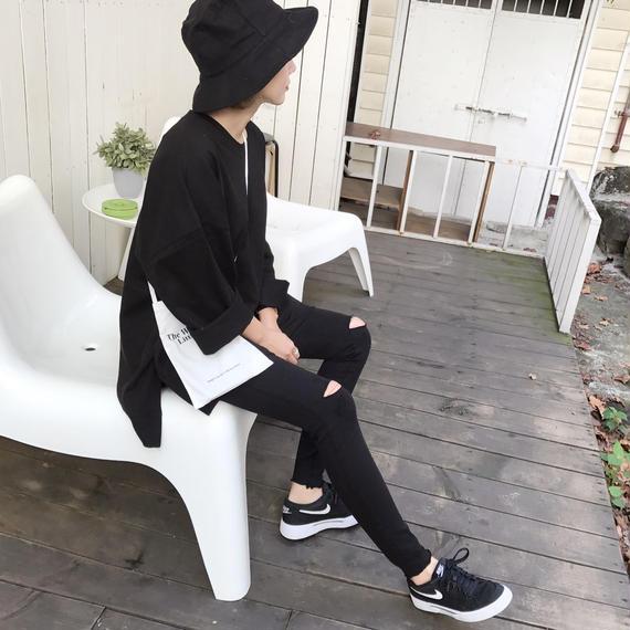 サイドスリットビッグTシャツ/ブラック