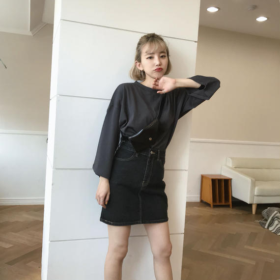 * 予約販売*ミニマルハイウエストデニムスカート/ブラック