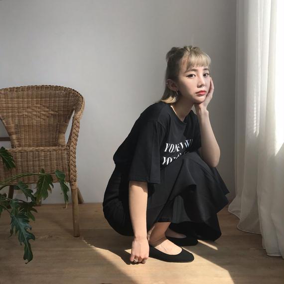 * 予約販売*レタリングプリントTシャツ/ブラック