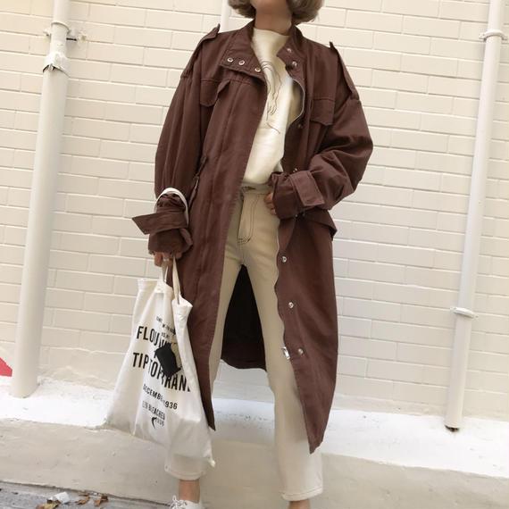 ロングレングスミリタリージャケット / ブラウン