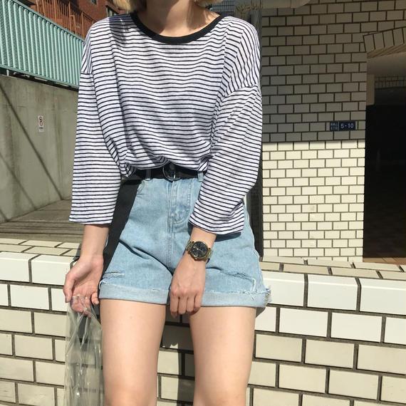 ボーダーリネンTシャツ