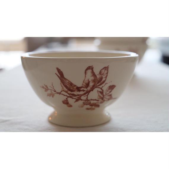 アンティークのような小鳥の絵のカフェオレボウル