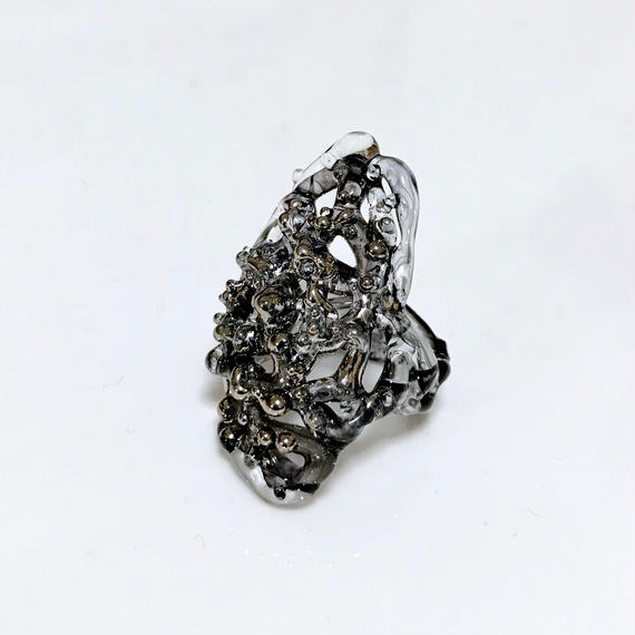 Lace Ring / Platinum black