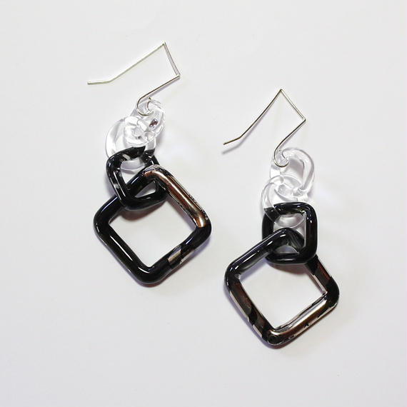 Square Earrings Black