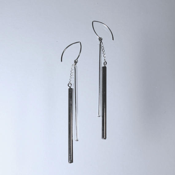 Double Tube Earrings  Platinum