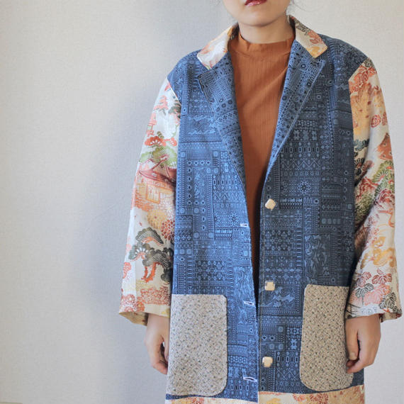 Blue x embroidery Kimono long jacket (no.100)