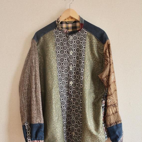 Men's Kimono patchwork long sleeve shirt (no.231)