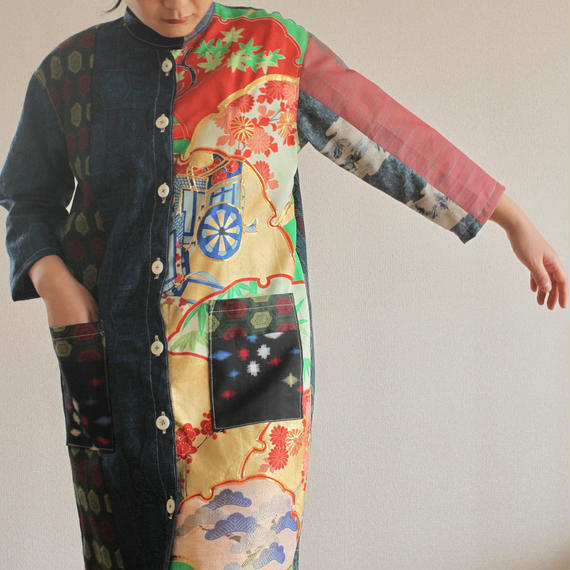 Kimono patchwork Original straight shape Jacket/dress (no.244)