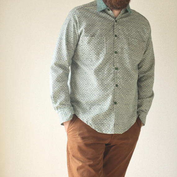 Men's soft green casual kimono shirt (no.087)
