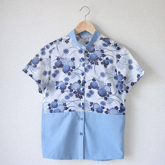 Women's summer blue YUKATA shirt (no.039)