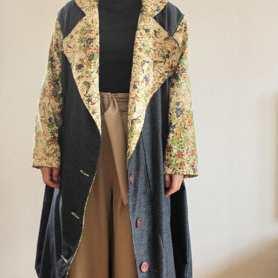Kimono Autumn chester design long coat (no.216)