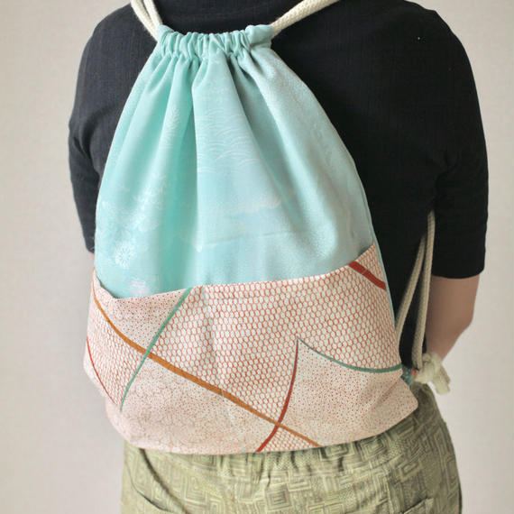 Emerald green  Kimono knapsack bag (no.053)