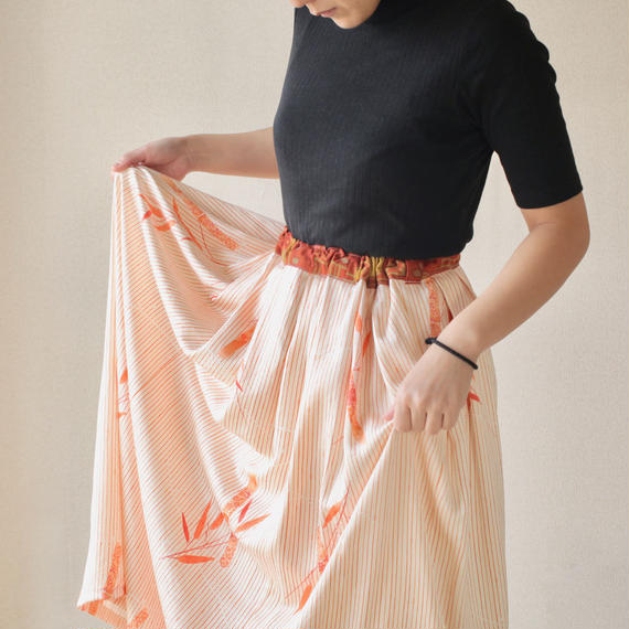 Orange Kimono tucked maxi skirt (no.092)