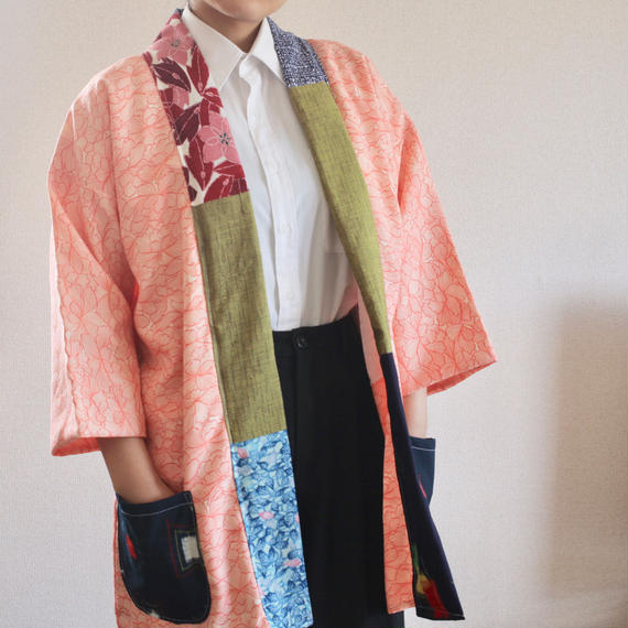 Salmon Pink color Haori style half jacket (no.185)
