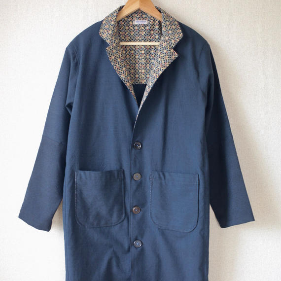 Men's dark blue long coat (no.062)