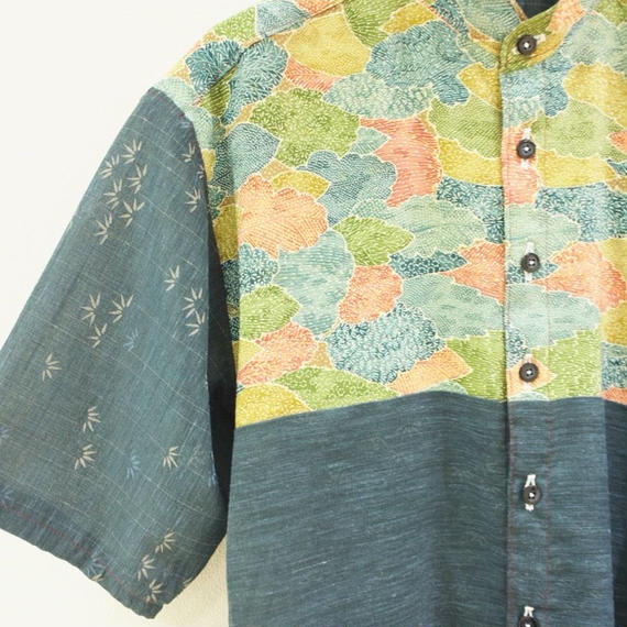 Men's Leaf pattern & dark blue thin kimono shirt (no.176)
