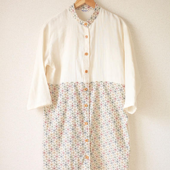 Cotton x Linen x Flax-leaf pattern Long shirt dress (no.051)